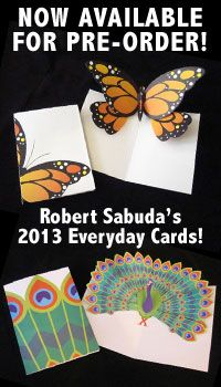 RobertSabuda.com offers free printable pop up cards . . . great for teaching symmetry.