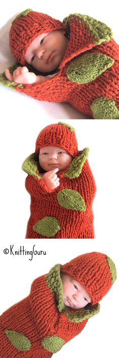 There's plenty of time to make this before Thanksgiving! This adorable Pumpkin Baby Cocoon Set is super-fast and easy to knit in just a few hours with chunky yarn and big needles.