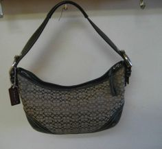 Authentic Coach Signature Hobo Shoulder Bag Hand Bag w/Leather Trim EUC! Designer Purses, Baby Items, Buy And Sell, Shoulder Bag, Fashion Outfits, Handbags, Leather, Stuff To Buy, Free Shipping