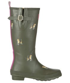 Printed Wellies - Joules Green Dog Print Welly buy online - Country Clothing | Barbour, Hunter, Joules & more