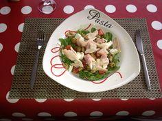 Lunchsalade met gerookte forel. Heerlijk!