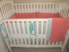 Aqua Damask Custom Baby Bedding Set by babylovin on Etsy