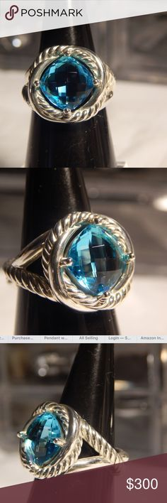 David Yurman Infinity Blue Topaz Ring- Size 7 Stunning David Yurman Infinity Blue Topaz Ring in Sterling Silver. Stone measure 14mm x 14mm. The stone is pristine and the silver in excellent shape- no scratches or chipping. Size 7. Authentic. Comes with dust bag. David Yurman Jewelry Rings