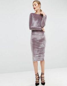 ASOS Long Sleeve Velvet Wrap Back Midi Dress