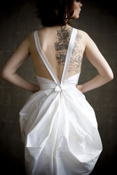 bubble wedding dress with open back and long straps