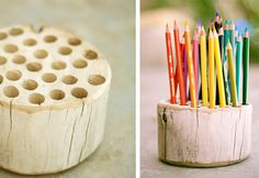 I love the idea of the log for markers. I like to glue the marker caps into the holes so they don't get lost.