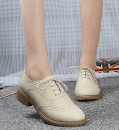 Women's #beige leather lace up #DressShoe retro Oxford style, cute carving, sewing thread, leather upper and lining.