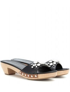 Miu Miu - Embellished patent leather mules.