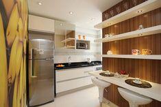 Cozinha planejada com bancada e prateleiras Projeto de Pricila Dalzochio