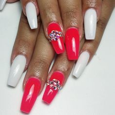 Cherry red and white gloss with Swarovski crystal feature.  by thenailbarsydney http://ift.tt/1NRMbNv