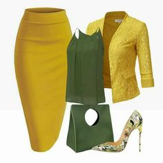 Moss green and mustard yellow skirt outfit Business Outfits, Business Attire, Classy Outfits, Stylish Outfits, Work Fashion, Fashion Looks, Church Fashion, 80s Fashion, Fashion Beauty