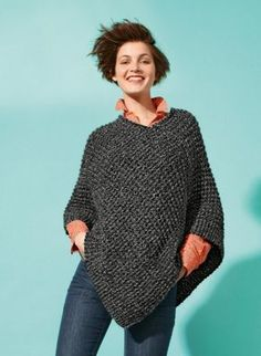Two simple rectangles make up this cute poncho in lovely chunky Duvetine yarn. Combine knit and purl stitches to make a textured pattern, on mm needles. Knitted Poncho, Knitted Shawls, Crochet Shawl, Knit Crochet, Poncho Knitting Patterns, Loom Knitting, Hand Knitting, Crochet Patterns, Wool Shop