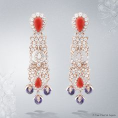 Crépuscule d'Orient earrings, Pierres de Caractère Variations collection Pink gold, round diamonds, amethyst beads, cabochon-cut pink coral The Crepuscule d'Orient earrings from the High Jewelry Pierres de Caractère Variations is adorned with Corallium elatius, a precious coral from the Pacific. The pairing of amethyst beads required meticulous attention to obtain a completely even color.