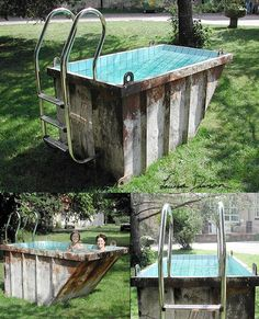 ThanksRecycled dumpster as soaking pool.... However, I think Id paint the exterior too -- the grungy patinaed exterior is kinda a turn-off! awesome pin