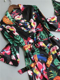 9e3d842346 3 PIECES ELEGANT FLOWER SILK NIGHTWEAR – ADULT ONLY SUPERSTORE Satin  Sleepwear