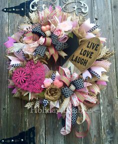 "Large 32"" Live. Love. Laugh Wreath by Holiday Baubles on Facebook"