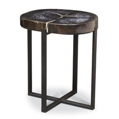 BLACK PETRIFIED WOOD ACCENT TABLE, LARGE by PALECEK