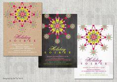 Assorted PRINTABLE Custom Holiday Party Invitation | Chalkboard Kraft Sparkles Modern Stylish Christmas Invite PRINTED Card / pdf / jpg by fatfatin