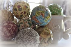 Thrift My House: modpodge maps, music, papers onto orbs - Christmas Ornaments
