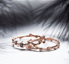 Wedding / engagement set  14k rose gold skinny stacking twig rings with a black diamond    In Her Dreams, 14 karat rose gold skinny stacking ring