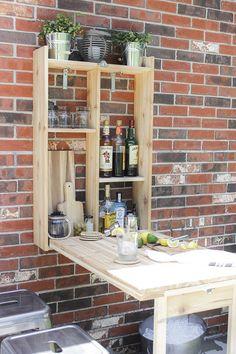 Bar Furniture, Pallet Furniture, Garden Furniture, Furniture Plans, Diy Outdoor Bar, Outdoor Kitchen Bars, Outdoor Kitchens, Outdoor Rooms, Outdoor Living