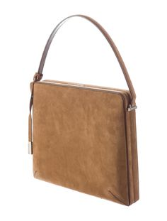 Brown suede Costume National suede shoulder bag with tonal stitching throughout, brown leather trim, silver-tone hardware, single flat-top handle, canvas interior lining, single interior patch pocket and push-lock closure. Shop Costume National designer handbags on sale at The RealReal.