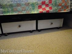 DIY under the bed storage using recycled drawers.