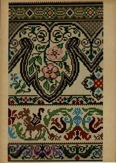 Cross Stitch Borders, Counted Cross Stitch Patterns, Cross Stitch Designs, Cross Stitching, Cross Stitch Embroidery, Vintage Embroidery, Embroidery Patterns, Palestinian Embroidery, Needlepoint Designs