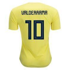Colombia Cheap Soccer Jerseys 2018 World Cup Home Carlos Valderrama #10 Football Shirt Kit at dosoccerjersey.co soccer gears shop