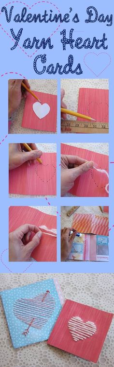 DIY these adorable yarn Valentine's Day cards. http://www.ehow.com/slideshow_12327802_yarn-heart-cards.html
