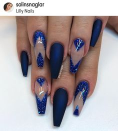 70 Eye-Catching and Fashion Acrylic Nails, Matte Nails, Glitter Nails Design You Should Try in Prom and Wedding - Page 23 Matte Nails Glitter, Blue Coffin Nails, Glam Nails, Hot Nails, Bling Nails, Purple Nail Designs, Acrylic Nail Designs, Acrylic Nails, Nagel Bling