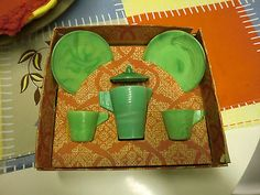 Vintage Green Alley Agate Toy Dishes Original Box 6 Pc Set Chiquita Plates Cups+