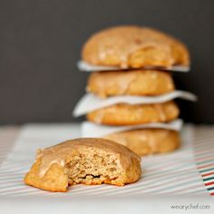 Banana Spice Cake Mix Cookies with Cinnamon Glaze #easy #cookies