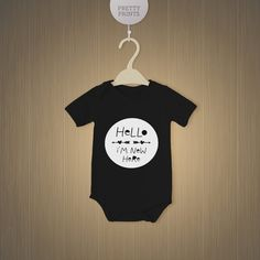 Black baby bodysuit with cute saying Hello I'm by Prettyprintsnl