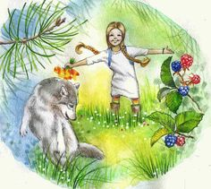 little girl and wolf - illustration for book