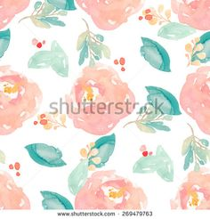 Cute Watercolor Floral Pattern With Painted Peony Flowers and Leaves. Watercolor Flower Background Pattern - stock photo