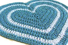 Heart Rag Rug Crochet Blue and Green Stripe by HighForestCrafts, $65.00