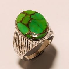 STAMP 925 SOLID STERLING  SILVER  UNIQUE GREEN COPPER TURQUOISE  RING SZ  7.0