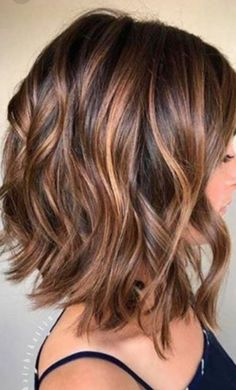 Balayage, Curly Lob Hairstyles - Shoulder Length Hair Cuts for Women and Girls Eyebrow Makeup Tips Brown Balayage, Hair Color Balayage, Balayage Lob, Short Balayage, Balayage Brunette, Blonde Ombre, Balayage Hairstyle, Ombre Bob, Balayage Highlights
