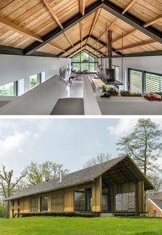 Modern barn in The Netherlands. Modern Barn House, Modern House Design, Residential Architecture, Modern Architecture, Architecture Colleges, Cultural Architecture, Casas Containers, Shed Homes, Future House