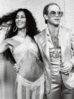 Cher & Elton John by Ulvis Alberts (1975).