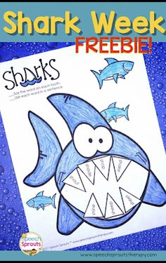 14 Great Ideas for Shark Week in Preschool Speech Therapy 14 terrific speech and language activities for Shark Week in preschool speech therapy including this free no-prep shark craftivity www. Speech Therapy Themes, Preschool Speech Therapy, Art Therapy Activities, Speech Language Therapy, Speech And Language, Speech Pathology, Therapy Ideas, Shark Activities, Speech Therapy Activities