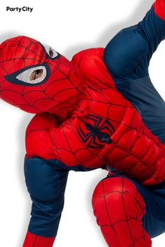Look you like you got bit by a radioactive spider as you swing into action with the muscles of Spider-Man! This Classic Spider-Man Muscle Costume for boys features a 100% polyester jumpsuit with muscles molded into the arms, legs, and torso. The suit has Spider-Man's iconic red and blue coloring and cobweb pattern, with hook-and-loop closure in the back. The hooded mask has mesh eye holes and is made of breathable synthetic fabric so you can breathe comfortably while bringing down the bad… Spiderman Costume, Marvel Costumes, Boy Costumes, Halloween Costumes, Muscles, Red And Blue, Breathe, Coloring