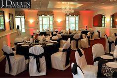 black and white wedding reception decor at Magnolia Manor, Greensboro NC wedding venue.
