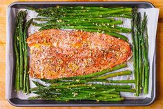 Lemon Pepper Garlic Rainbow Trout and Asparagus baked on a sheet pan in the oven. Healthy, low-carb, gluten free, keto-friendly recipe, packed with healthy omega 3 fatty acids. Easy and quick - only 30 minutes from start to finish! Rainbow Trout Recipe Baked, Rainbow Trout Recipes, Baked Trout, Baked Fish, Fish Recipes, Baking Recipes, Baked Asparagus, Lemon Pepper, Meal Planning