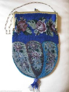 Antique Victorian Blue Aqua Rose Floral Gold T Jewel Frame Crochet Bead Purse #EveningBag