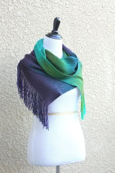"<p>Hand woven long scarf with gradually changing colors from green to purple. Amazing color shades and color variety.</p> <p>Measures: <br>L: 78"" with 6"" fringe on both end... #kgthreads #peacock"