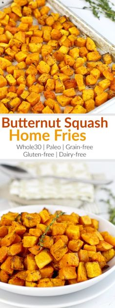 Butternut Squash Home Fries are roasted to perfection and make for a flavorsome, 4-ingredient side-dish for even the pickiest eaters! | Whole30 | Paleo | Grain-free | Gluten-free | Dairy-free | healthy side dishes | butternut squash recipes | whole30 side dishes | gluten-free side dishes | paleo side dishes | dairy-free side dishes || The Real Food Dietitians #butternutsquash #whole30recipes #paleosidedish