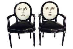 Two-Faced French-Style Armchairs, Pair
