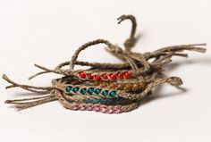 5  Braided Hemp Wish Bracelets with 7 Beads for by HauteHomemades, $6.00